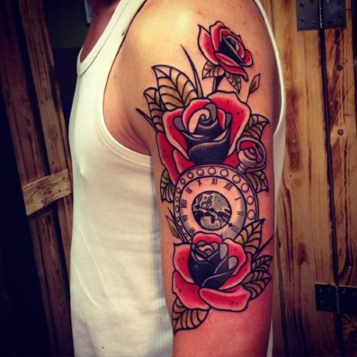 tattoo-arm-new_school-clock-flower